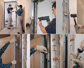 Установка современной входной металлической двери