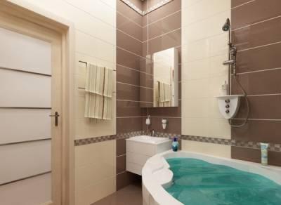 Коричневый интерьер ванной комнаты